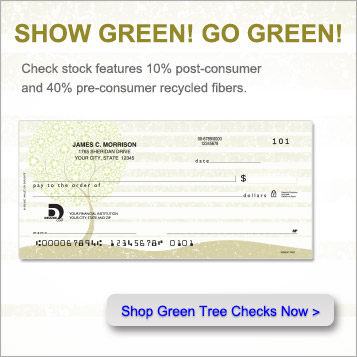 Show Green!  Go Green!  Check stock features 10 percent post consumer and 40 percent pre consumer recycled fibers.