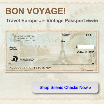 Bon Voyage!  Travel Europe with vintage passport checks.