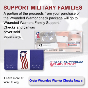 Support military families a portion of the proceeds from your purchase of the Wounded Warrior check package will go to Wounded Warriors Family Support. Checks and canvas cover sold seperately. Order Wounded Warrior checks now