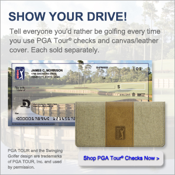 Show your drive!  Tell everyone you'd rather be golfing every time you use PGA Tour checks and canvas slash leather cover.  Each sold separately.