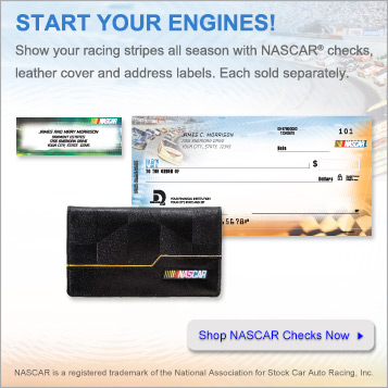 Start your engines!  Show your racing stripes all season with NASCAR checks, leather cover and address labels.  Each sold separately.